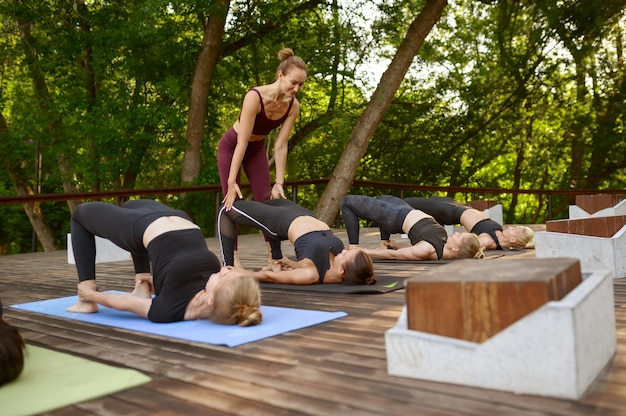 Donne allegre sulla formazione yoga di gruppo con istruttore nel parco estivo