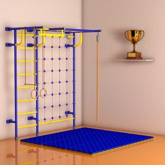 Sport playground wall bar per bambini contro un muro nella stanza. rendering 3d