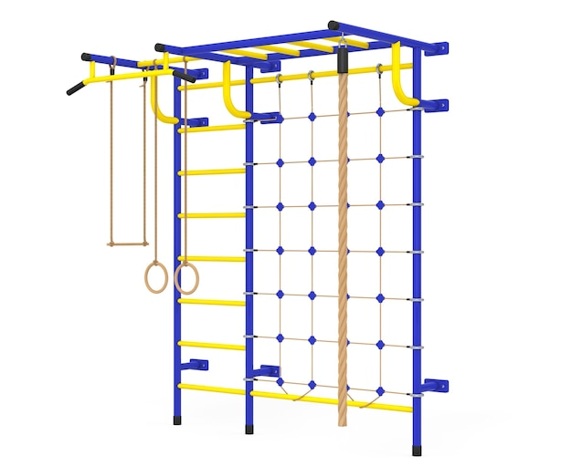 Sport playground wall bar per bambini su sfondo bianco. rendering 3d