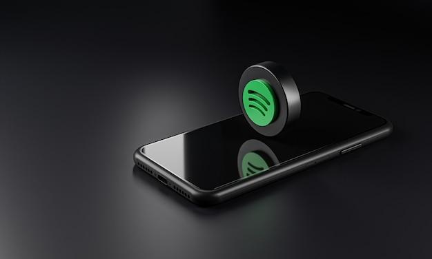 Icona con il logo spotify su smartphone, rendering 3d