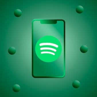 Logo spotify sullo schermo del telefono 3d rendering