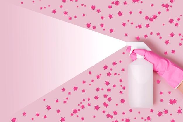 Spray per la pulizia e la disinfezione virus, covid-19, malattia di coronavirus, misure preventive. sanificazione e lavaggio più pulito. virus ucciso da spray, soluzione disinfettante. ferma il covid-19.