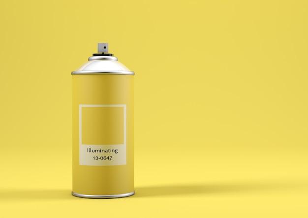 Bomboletta di vernice spray con il colore dell'anno 2021 chiamato illuminating yellow