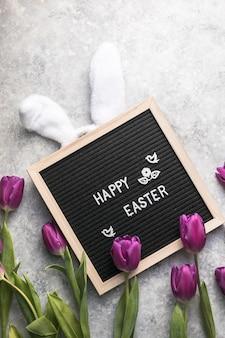 Concetto di primavera e cartolina d'auguri di buona pasqua
