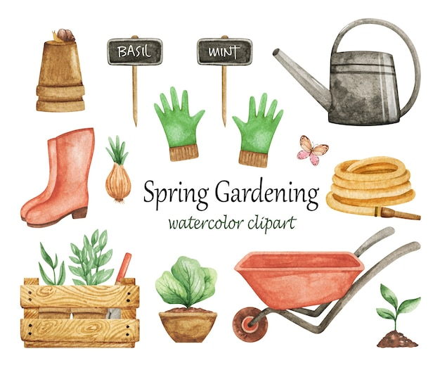 Acquerello di clipart di giardinaggio primaverile, set di attrezzi da giardino, carriola, guanti, annaffiatoio isolato