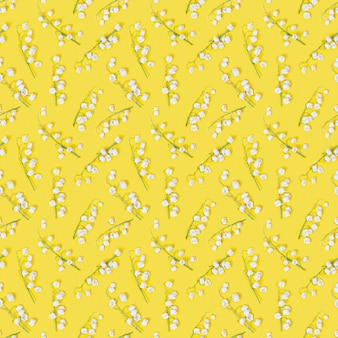 Motivo geometrico primaverile con fiori di mughetto bianco che sbocciano