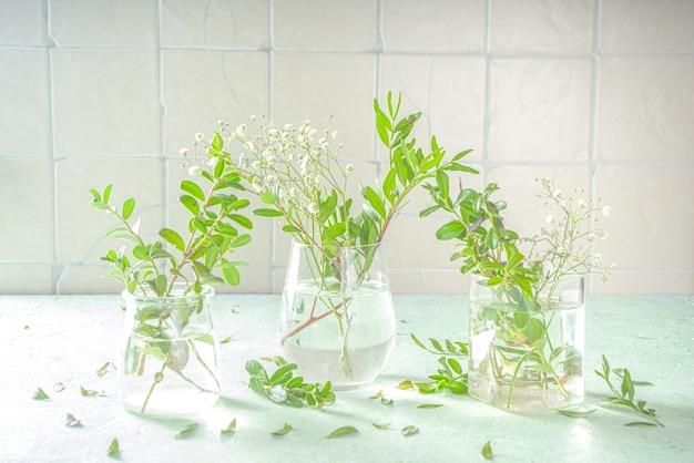 Concetto di rinascita della natura primaverile. piante verdi e fiori selvatici da giardino in diversi bicchieri e vasi su uno sfondo verde, interni di casa, copia spazio per il testo composizione floreale primaverile.