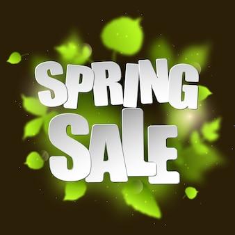 Tipografia di vendita di primavera foglie sfocate verdi su sfondo scuro