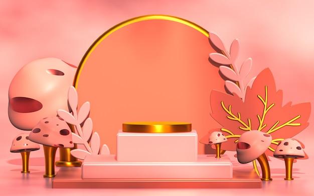 Palco del podio della stagione primaverile per il rendering 3d dello sfondo di presentazione del prodotto