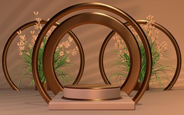 Sfondo speciale del palco del podio della stagione primaverile per il rendering 3d della presentazione del prodotto