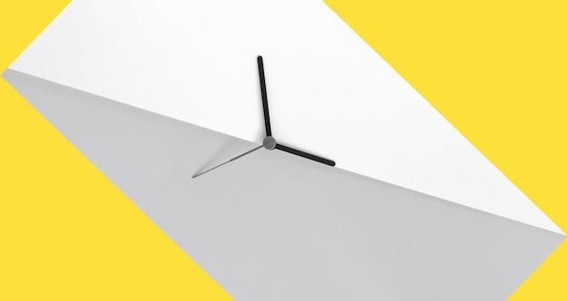 Cambio dell'ora primaverile lancette dell'orologio sullo sfondo del blocco di colore giallo e grigio concetto di ora legale cambio dell'ora stagionale