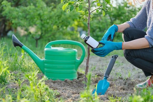 Lavoro primaverile in giardino, bottiglia di fertilizzante chimico, fungicida in mano