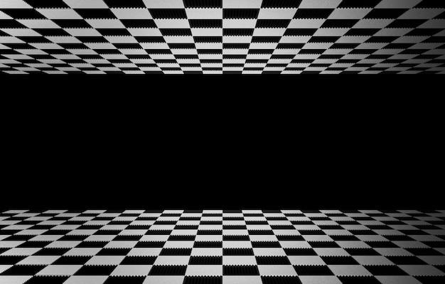 Tessere quadrate a scacchi sul pavimento e in alto con la parete di colore grigio come sfondo.