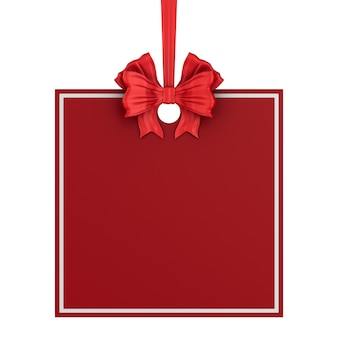 Etichetta quadrata di natale con nastro rosso e fiocco su sfondo bianco. illustrazione 3d isolata
