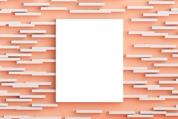 Square flat lay concept vista dall'alto della cornice vuota mock up e pastello rosa millenario