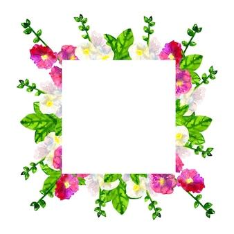 Sfondo cornice quadrata. malva viola rosa con foglie. malva bianca. illustrazione dell'acquerello disegnato a mano. isolato.
