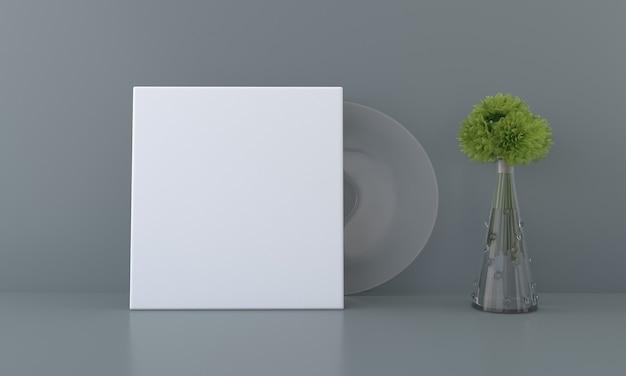 Mockup di cornice quadrata con erba ornamentale in vaso squisito