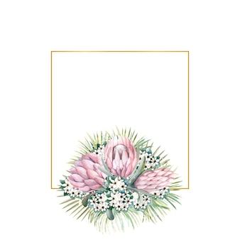 Cornice quadrata in oro con fiori di protea, foglie tropicali, foglie di palma, fiori di bouvardia
