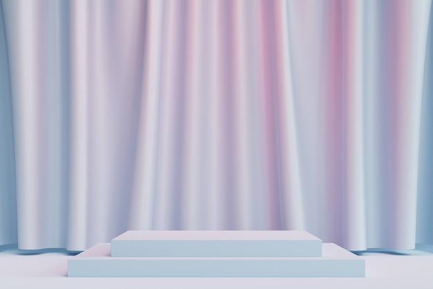 Podio quadrato o piedistallo per prodotti o pubblicità su sfondo blu e rosa pastello con tende, rendering minimo di illustrazione 3d