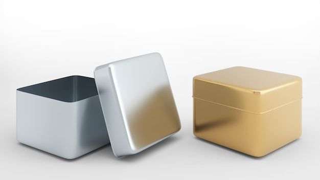Lattine di forma quadrata materiale argento e oro su sfondo biancoisolato su sfondo bianco