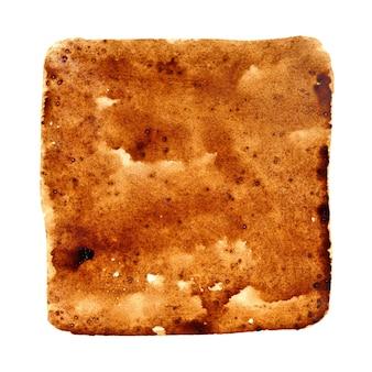 Macchia quadrata di caffè nero versato isolata sullo sfondo