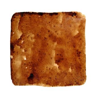 Macchia quadrata di caffè versato isolata sullo sfondo bianco