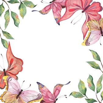 Una cornice quadrata ad acquerello con farfalle astratte colorate e ramoscelli di foglie svolazzanti