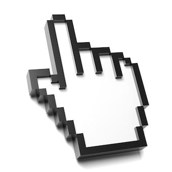 Puntatore del mouse a mano quadrata su sfondo bianco