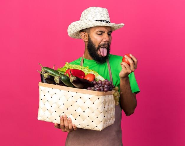 Ragazzo afroamericano schizzinoso giovane giardiniere che indossa cappello da giardinaggio che tiene cesto di verdure e guarda il pomodoro in mano isolato sul muro rosa