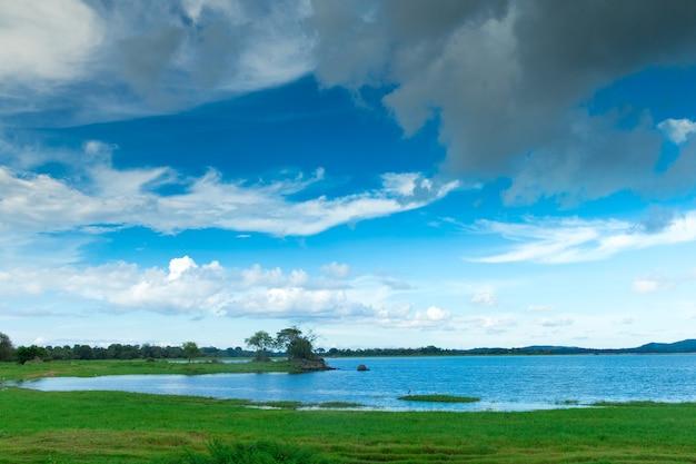 Lago dello sri lanka, paesaggio dello sri lanka, alberi sull'acqua, alberi sul lago
