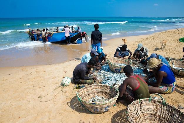Sri lanka - mach 23: i pescatori locali tirano una rete da pesca dall'oceano indiano su mach 23, 2017 a kosgoda, sri lanka. la pesca in sri lanka è il modo in cui si guadagnano da vivere.