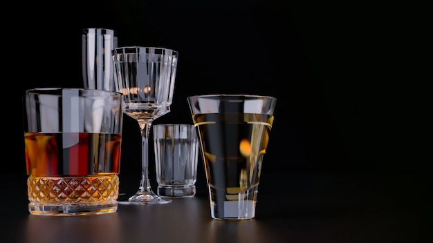 Bevande alcoliche forti su sfondo scuro