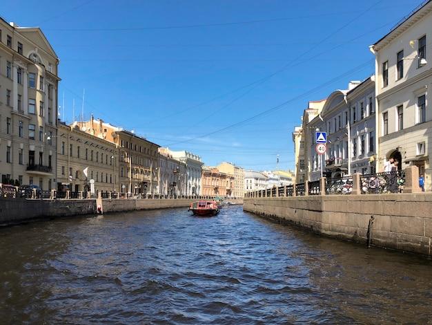 San pietroburgo. argine del fiume moyka a san pietroburgo, russia