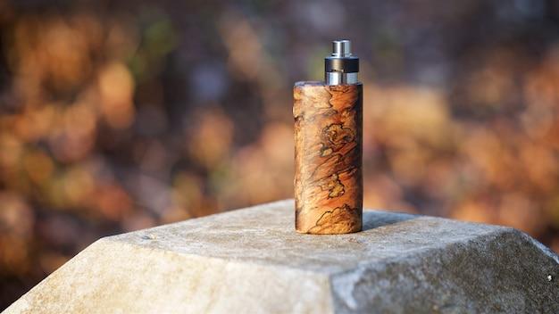 Mod scatola di legno stabilizzata con atomizzatore gocciolante ricostruibile, dispositivo di svapo, messa a fuoco selettiva