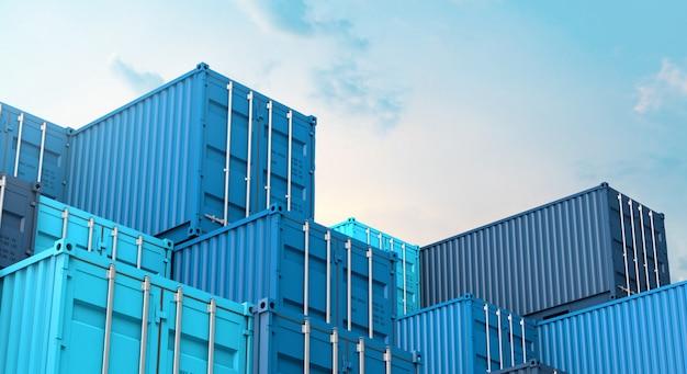 Pila di contenitore blu di contenitori, nave da carico del carico per l'importazione 3d dell'esportazione