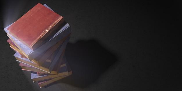 Pila di libri su uno sfondo nero con un piacevole bagliore mistico, 3d'illustrazione