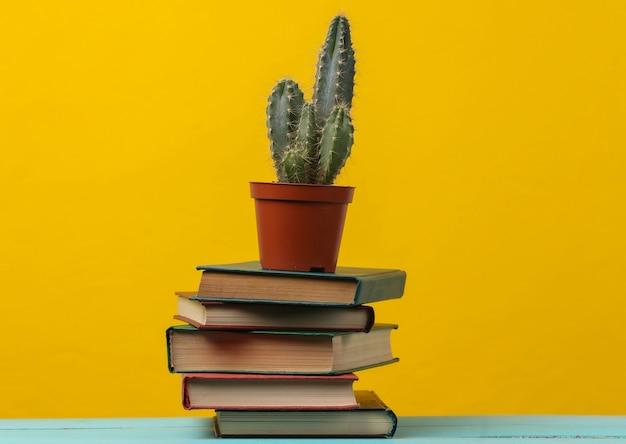 Pila di libri con cactus su giallo