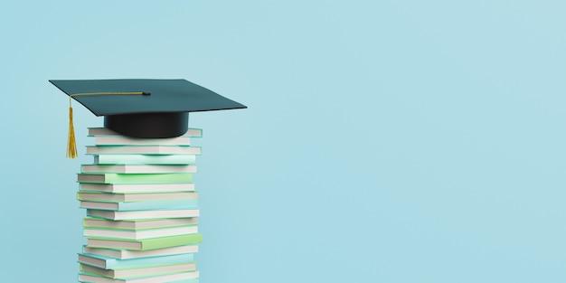 Pila di libri con cappello di laurea
