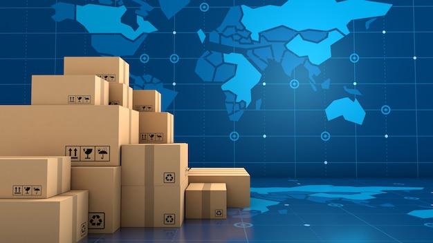 Pila di imballaggi in scatola marrone per merci