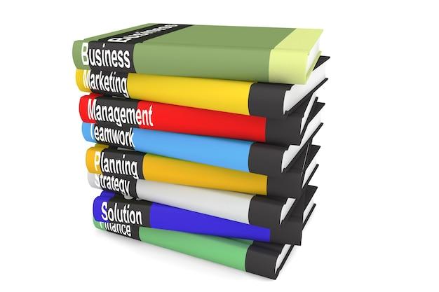 Pila di libri di affari su uno sfondo bianco