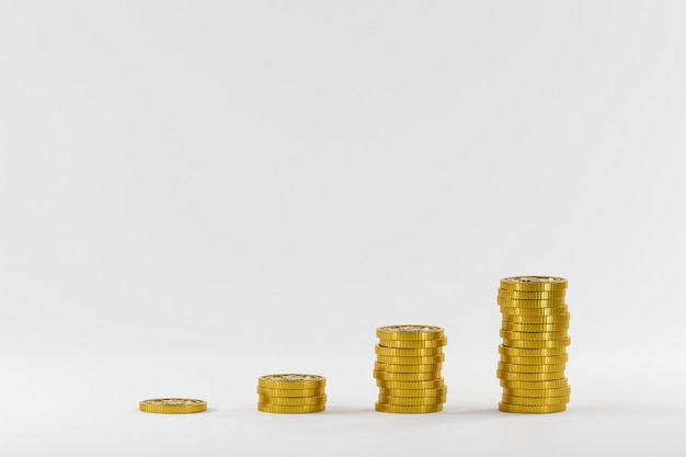 Pila di monete sulla scrivania. attività commerciale. finanza 3d rendering