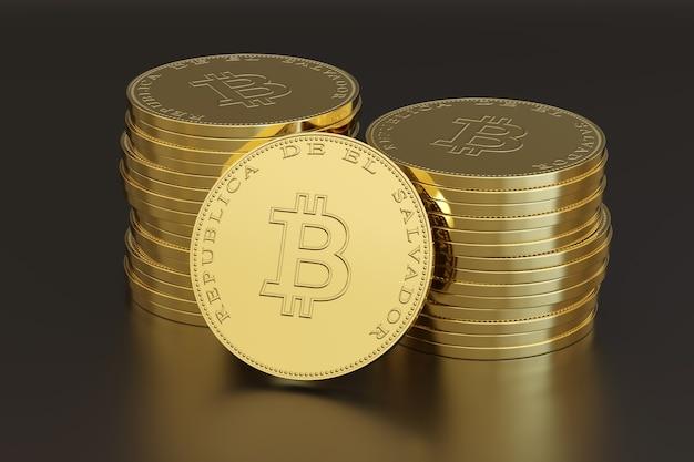 Pila di monete con il simbolo bitcoin e il testo