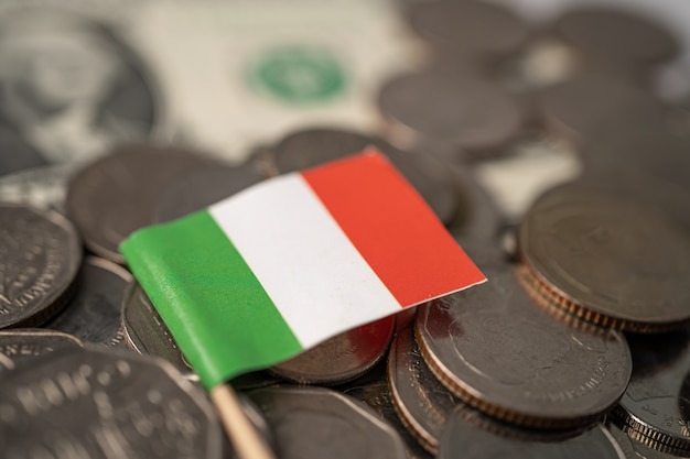 Pila di monete con la bandiera dell'italia