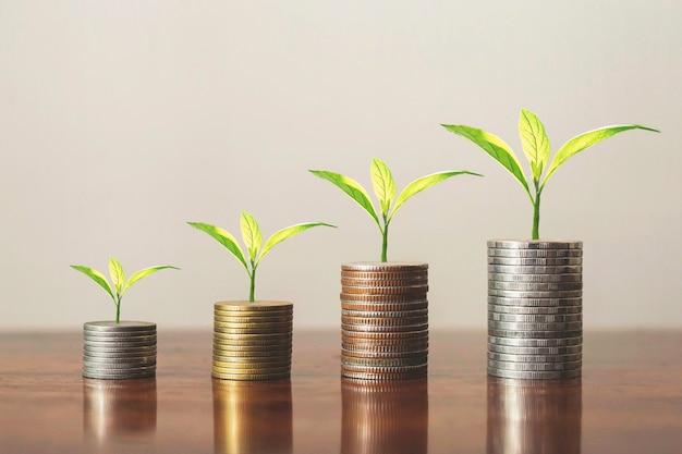 Impila monete con piante per crescere in gradini. concetto di crescita aziendale