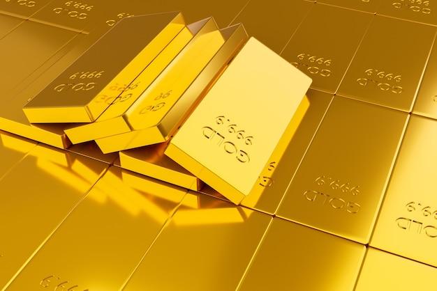 Pila di lingotti d'oro. concetto finanziario, rendering di illustrazione 3d Foto Premium