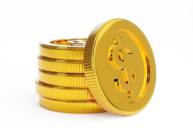 Pila di monete d'oro, concetto di attività bancarie aziendali. rendering 3d.
