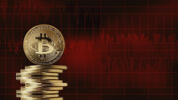 Pila di monete d'oro bitcoin su uno sfondo di grafici di mercato rosso. la caduta della criptovaluta, cattive notizie. il concetto di criptovaluta e blockchain, può essere utilizzato per video o copertine di siti o notizie