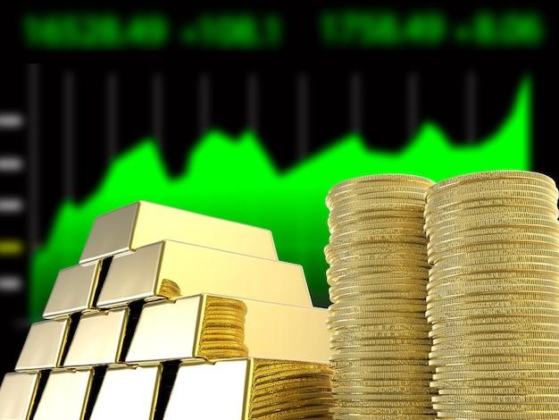 Pila di monete d'oro e lingotti con sfondo grafico commerciale