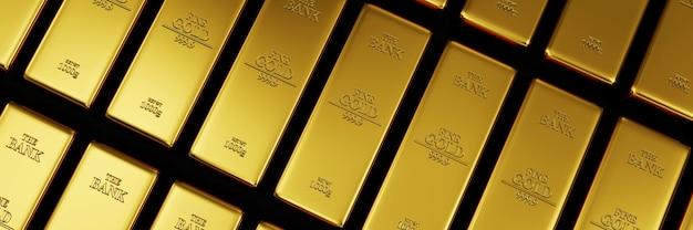 Pila di barre dorate nei cenni storici astratti del caveau della banca