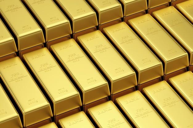 Pila di barre d'oro nel caveau della banca